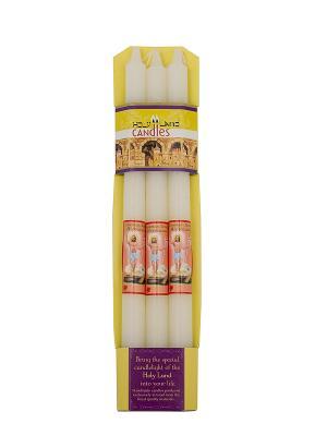 Набор из трех свечей Святой Земли Holy Land Collections. Цвет: белый