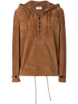 Толстовка со шнуровкой Saint Laurent. Цвет: коричневый