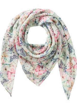 Воздушный платок Бабочки (мятный с рисунком) bonprix. Цвет: мятный с рисунком