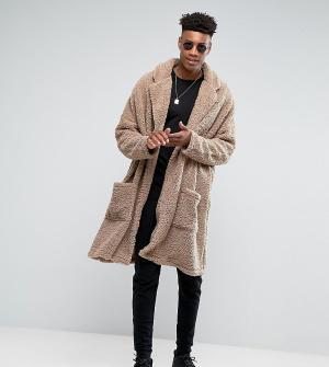 ASOS Легкое свободное пальто из искусственного меха TALL. Цвет: бежевый