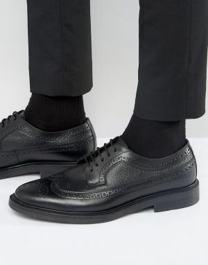 Zign Кожаные туфли дерби с декоративной перфорацией. Цвет: черный