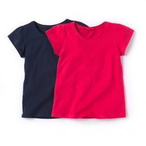 Комплект из 2 однотонных футболок на 3-12 лет R édition. Цвет: темно-синий  + розовый