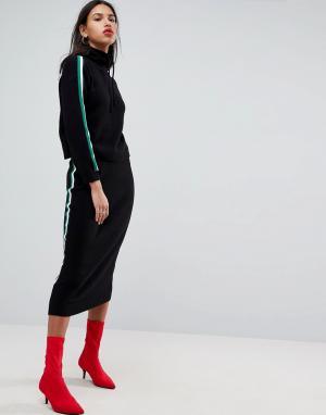 ASOS Комбинируемая вязаная юбка миди с отделкой в спортивном стиле. Цвет: черный