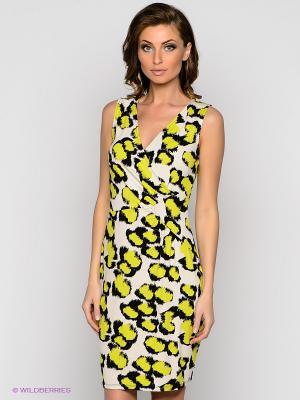 Платье VILA JOY. Цвет: салатовый, молочный, черный