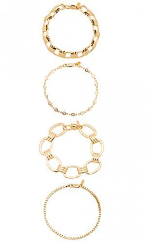 Набор браслетов riley Vanessa Mooney. Цвет: золотой