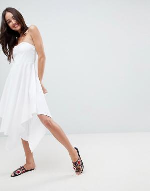 ASOS Хлопковое легкое платье бандо. Цвет: белый