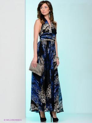 Платье Levall. Цвет: черный, светло-бежевый, синий
