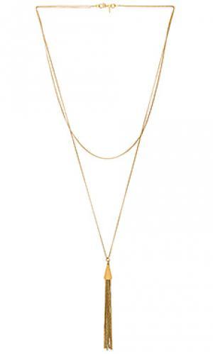 Ожерелье double chain tassel Vanessa Mooney. Цвет: металлический золотой