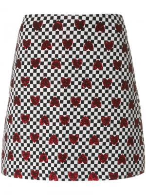 Клетчатая юбка с сердцами Ultràchic. Цвет: белый
