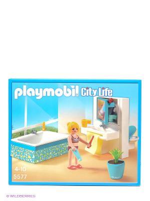Конструктор Современная ванная комната Playmobil. Цвет: голубой, белый, бежевый, желтый