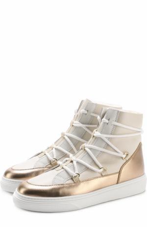 Высокие кожаные кеды на шнуровке Hogan. Цвет: белый