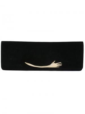 Клатч с золотистым украшением в виде руки Petar Petrov. Цвет: чёрный