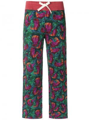 Printed straight leg trousers Isolda. Цвет: зелёный