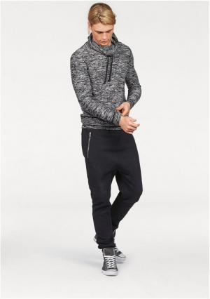 Пуловер JOHN DEVIN. Цвет: молочно-белый меланжевый, синий/меланжевый
