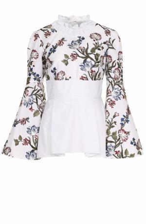 Приталенная хлопковая блуза с принтом Erdem. Цвет: разноцветный