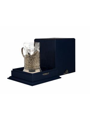 Набор для чая никелированный с чернью Спасская башня (подстаканник + стакан футляр) Кольчугинъ. Цвет: серебристый