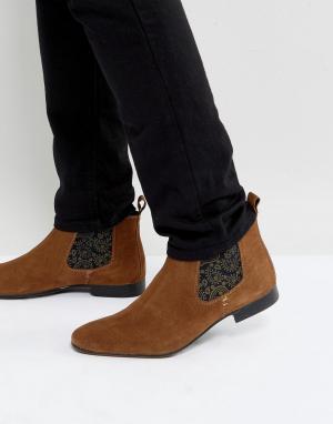 Silver Street Светло-коричневые замшевые ботинки челси. Цвет: рыжий