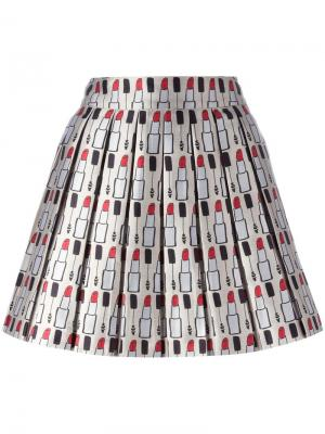 Плиссированная юбка с принтом Alice+Olivia. Цвет: многоцветный