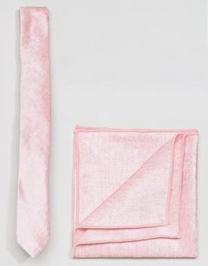ASOS Розовые бархатные галстук и платок для нагрудного кармана. Цвет: розовый