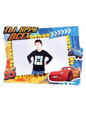 Фоторамка для декорирования Чемпион Тачки, в наборе 1 шт + декор Disney. Цвет: лазурный, красный, оранжевый, белый