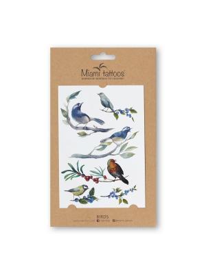 Акварельные переводные тату Miami Tattoos Birds. Цвет: черный, антрацитовый, голубой, зеленый, светло-зеленый, серо-голубой, серо-зеленый, серый, синий, темно-серый, темно-синий, терракотовый