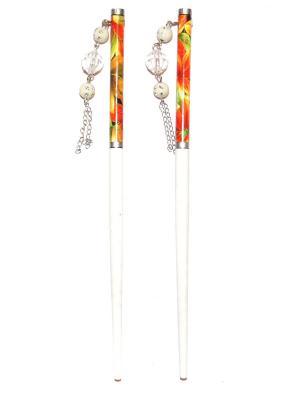 Китайские палочки для волос Lola. Цвет: оранжевый, белый