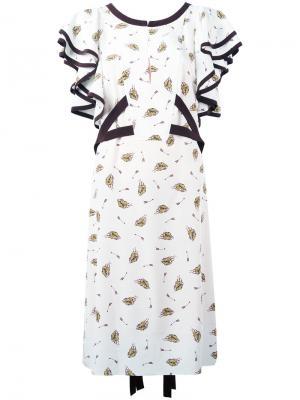 Платье с принтом шляп Dorothee Schumacher. Цвет: телесный