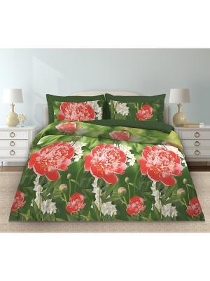 Постельное белье Любимый Дом. Цвет: зеленый, красный