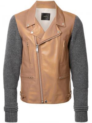 Байкерская куртка с вязаными рукавами Undercover. Цвет: коричневый