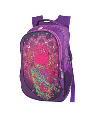 Портфель ученический Stelz. Цвет: темно-фиолетовый, салатовый, фуксия