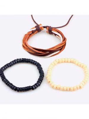 Набор браслетов Дерево Счастья. Цвет: черный, коричневый, кремовый