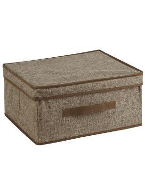 Шкафное наполнение WHHH10-374  Короб LINEN Beige с крышкой, 46*33*25Н см WHITE FOX. Цвет: светло-коричневый
