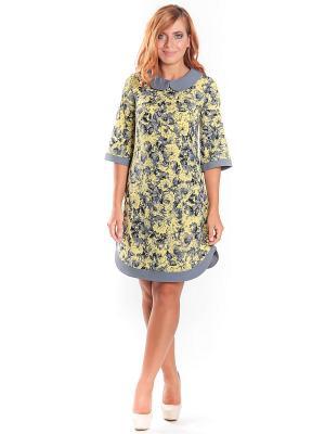 Платье Lautus. Цвет: серый, горчичный