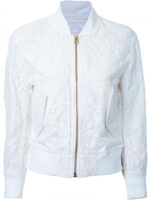Кружевная куртка-бомбер Cityshop. Цвет: белый