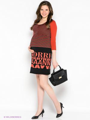 Платье EUROMAMA. Цвет: красный, черный