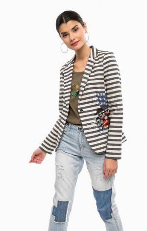Хлопковый пиджак в полоску с принтом Desigual. Цвет: синий