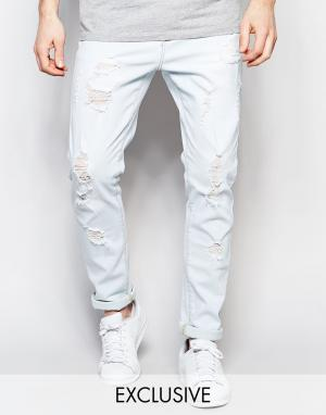 Liquor N Poker Голубые выбеленные джинсы узкого кроя с рваной отделкой. Цвет: синий