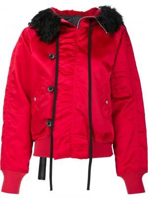 Куртка-бомбер с меховым воротником Unravel Project. Цвет: красный