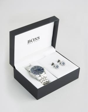 BOSS Подарочный набор с часами и запонками из нержавеющей стали By Hug. Цвет: серебряный