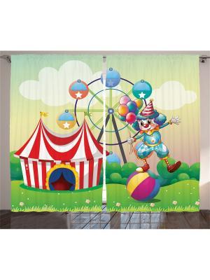 Комплект фотоштор Веселый клоун, 290*265 см Magic Lady. Цвет: голубой,красный,зеленый