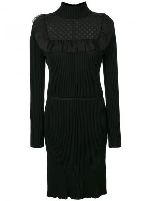 Платье-свитер с оборчатой вставкой спереди Giambattista Valli. Цвет: чёрный