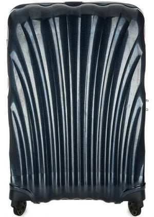 Синий пластиковый чемодан на колесах Samsonite. Цвет: синий