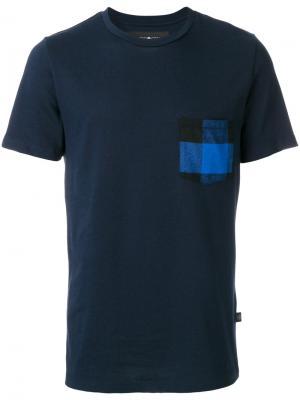Футболка с клетчатым карманом Hydrogen. Цвет: синий