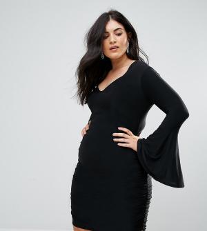 Club L Plus Облегаюющее платье мини с длинными расклешенными рукавами. Цвет: черный
