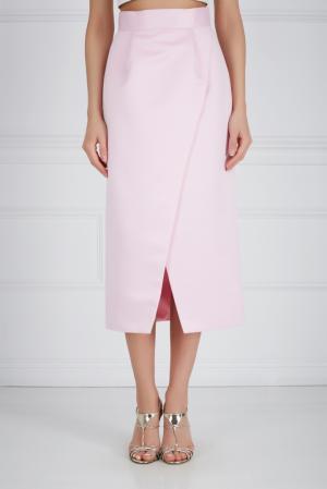 Шелковая юбка-карандаш Ester Abner. Цвет: розовый