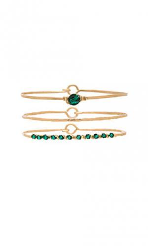 Набор браслетов priscilla Mimi & Lu. Цвет: металлический золотой