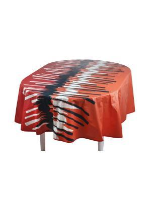 Скатерть Modern Comfort ПВХ с основой из флиса, 152*228 см WHITE FOX. Цвет: оранжевый, белый, черный