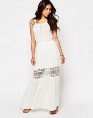Meghan Fabulous Кружевное платье макси Lilian. Цвет: белый