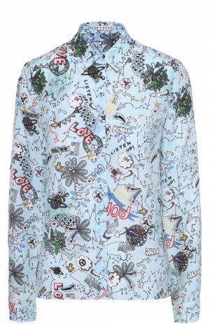 Шелковая блуза прямого кроя с принтом Alice + Olivia. Цвет: разноцветный