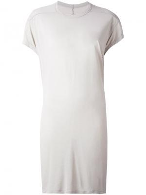 Удлиненная футболка Rick Owens. Цвет: телесный